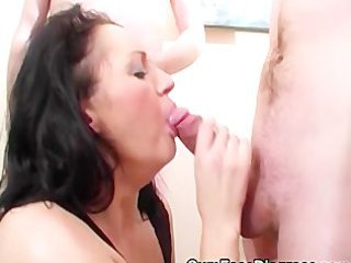 excited milf sucks eagerly on cock and takes
