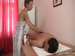 granny masseuse receives her unshaved aperture