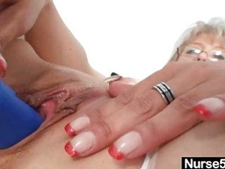 impure old mom in nurse uniform wild masturbation