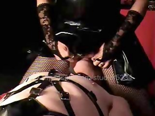 sexual brute in leather suit makes his sexual