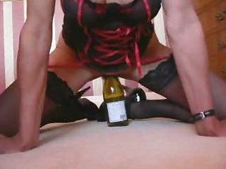 wife in underware riding bottle