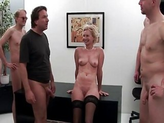 this granny knows how to ride four hard dicks