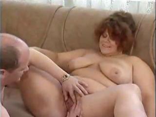 bulky dark brown granny eats a unyielding weenie