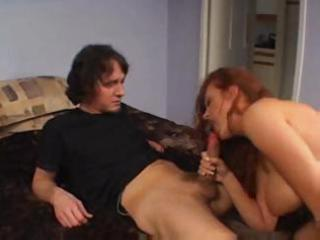 Busty redhead milf goes down on his cock and then