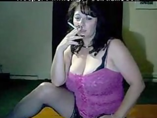 breasty mommy tells to cum while she is smokes by