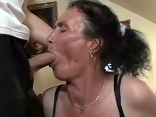 busty dark brown granny gets wicked cookie