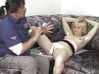 mature woman takes off her raiment as her pussy