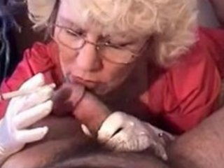 granny in gloves smokin bj