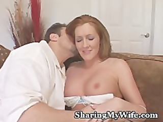 redhead wife watched by nerd hubby