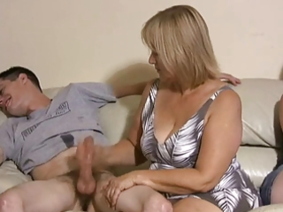 mother and daughter jerking boyz off