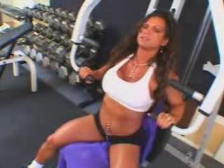 sexy aged breasty brunette hair bodybuilder