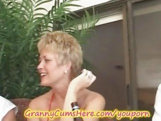 granny has a xxx swingers party and wazoo licking