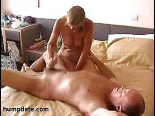 excited wife jerks off hubby ramrod