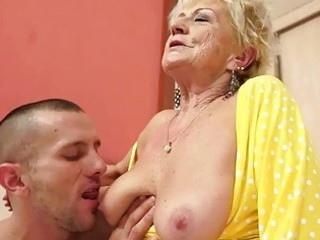 breasty granny gets her bushy love tunnel screwed