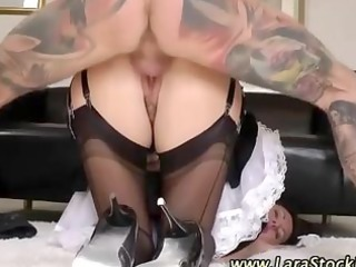 stockings maid receives a facial after being
