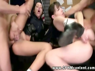 hot police chicks getting anally pumped and