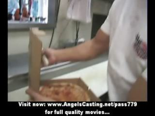 Sexy blonde milf does blowjob for pizza guy and
