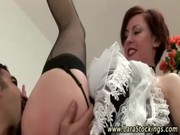 Mature euro babe in stockings gets her pussy
