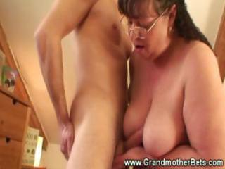chubby granny rides lustful youthful rod