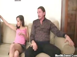excited gf jumps on her bfs dad knob