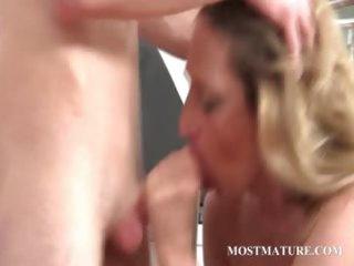 blonde mama takes shlong in mouth and vagina