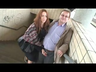 mature guy and youthful girl having enjoyment in