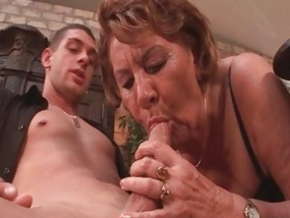 Horny 50yo granny sucks on a young guys cock