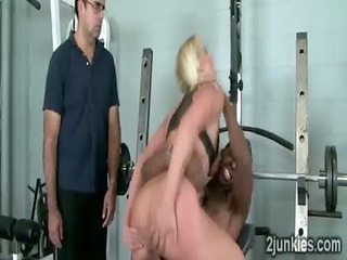 Bootylicious blonde MILF smashed at gym by black