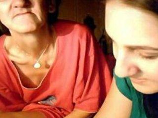 real gandmother and granddaughter flashing on web