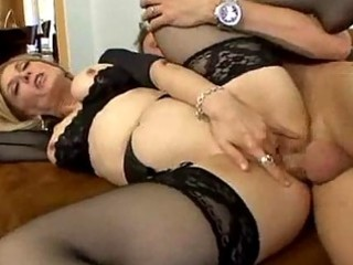 stocking clad d like to fuck loves widening her