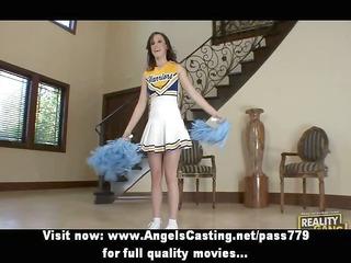 brunette hair cheerleader flashing panties and