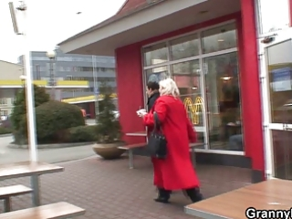 Huge grandma is picked up in cafe