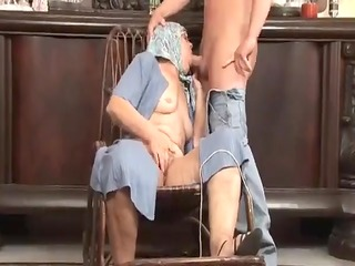 granny knitting and getting drilled hard
