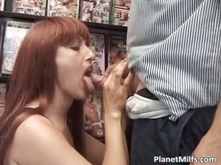 concupiscent red head floozy enjoys in public